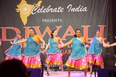 Diw Bright Bollywood costumes flowing at Diwali
