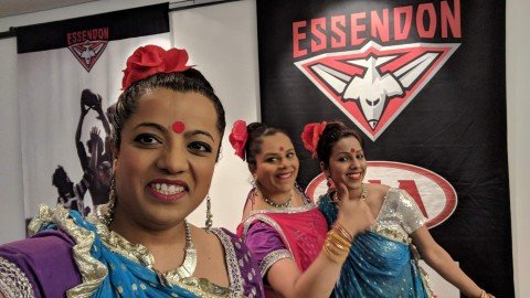 Bollywood dancers at Essendon Football Club AFL
